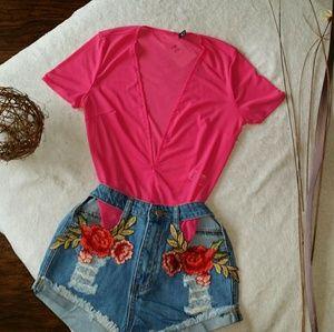Other - Hot Pink Sheer Deep Plunge Bodysuit